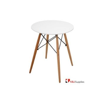 REPLICA EAMES DSW EIFFEL DINING TABLE ROUND WHITE NATURAL BEECH WOOD 80 x 72CM