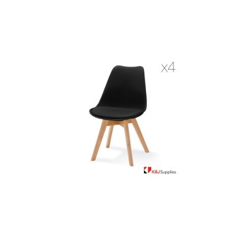 VIVA CHAIR BLACK NATURAL BEECH WOOD 4 PACK