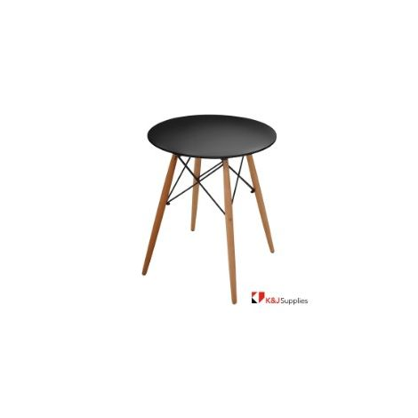 REPLICA EAMES DSW EIFFEL DINING TABLE ROUND BLACK NATURAL BEECH WOOD 80 x 72CM